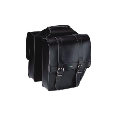 Alforja doble MG  Cruisser con asa simil cuero color Negro
