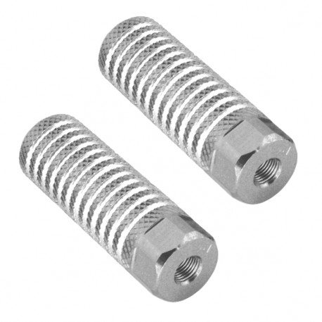 Par reposapies aluminio eje 9 mm 24x63mm Plata